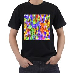 Green Jellyfish Yellow Pink Red Blue Rainbow Sea Purple Men s T Shirt (black) (two Sided)