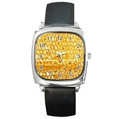 Honeycomb Fine Honey Yellow Sweet Square Metal Watch