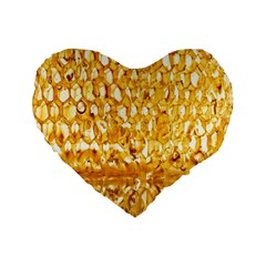 Honeycomb Fine Honey Yellow Sweet Standard 16  Premium Flano Heart Shape Cushions by Alisyart