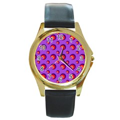 Scatter Shapes Large Circle Red Orange Yellow Circles Bright Round Gold Metal Watch