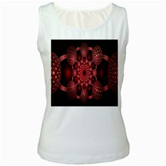 Lines Circles Red Shadow Women s White Tank Top