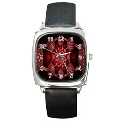 Lines Circles Red Shadow Square Metal Watch