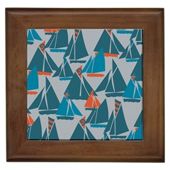 Ship Sea Blue Framed Tiles