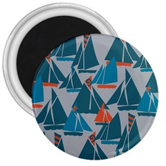Ship Sea Blue 3  Magnets