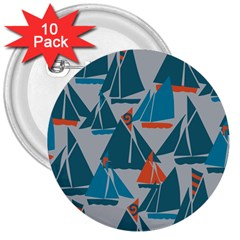 Ship Sea Blue 3  Buttons (10 Pack)