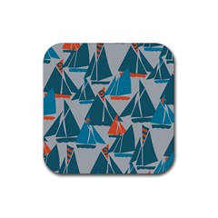 Ship Sea Blue Rubber Coaster (square)