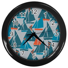 Ship Sea Blue Wall Clocks (black)