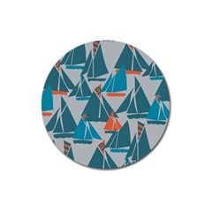 Ship Sea Blue Magnet 3  (round)