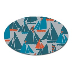 Ship Sea Blue Oval Magnet