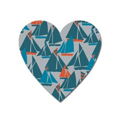 Ship Sea Blue Heart Magnet