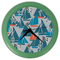 Ship Sea Blue Color Wall Clocks