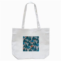 Ship Sea Blue Tote Bag (white)