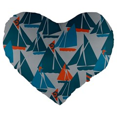 Ship Sea Blue Large 19  Premium Flano Heart Shape Cushions