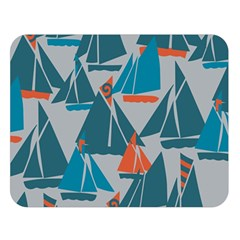 Ship Sea Blue Double Sided Flano Blanket (large)  by Alisyart