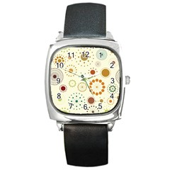 Seamless Floral Flower Orange Red Green Blue Circle Square Metal Watch by Alisyart