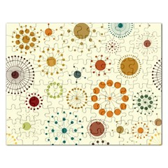 Seamless Floral Flower Orange Red Green Blue Circle Rectangular Jigsaw Puzzl by Alisyart