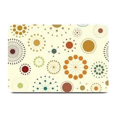 Seamless Floral Flower Orange Red Green Blue Circle Plate Mats