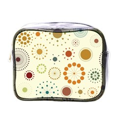 Seamless Floral Flower Orange Red Green Blue Circle Mini Toiletries Bags by Alisyart