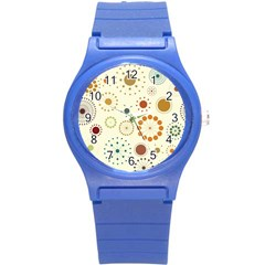 Seamless Floral Flower Orange Red Green Blue Circle Round Plastic Sport Watch (s)