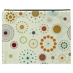 Seamless Floral Flower Orange Red Green Blue Circle Cosmetic Bag (xxxl)  by Alisyart