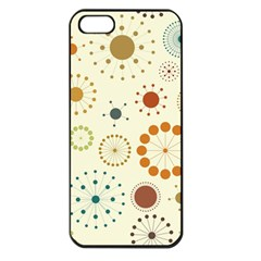 Seamless Floral Flower Orange Red Green Blue Circle Apple Iphone 5 Seamless Case (black)