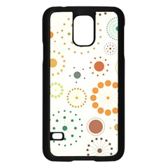 Seamless Floral Flower Orange Red Green Blue Circle Samsung Galaxy S5 Case (black) by Alisyart