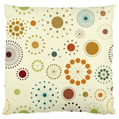 Seamless Floral Flower Orange Red Green Blue Circle Large Flano Cushion Case (two Sides)