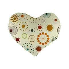 Seamless Floral Flower Orange Red Green Blue Circle Standard 16  Premium Flano Heart Shape Cushions by Alisyart
