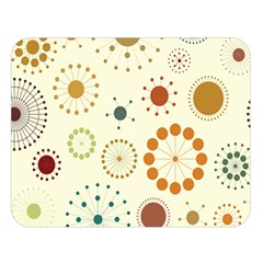 Seamless Floral Flower Orange Red Green Blue Circle Double Sided Flano Blanket (large)