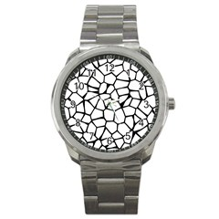 Seamless Cobblestone Texture Specular Opengameart Black White Sport Metal Watch by Alisyart