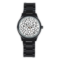 Seamless Cobblestone Texture Specular Opengameart Black White Stainless Steel Round Watch by Alisyart