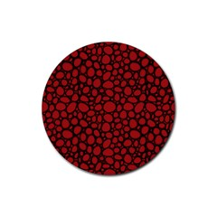 Tile Circles Large Red Stone Rubber Round Coaster (4 Pack)