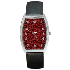 Tile Circles Large Red Stone Barrel Style Metal Watch