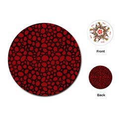 Tile Circles Large Red Stone Playing Cards (round)
