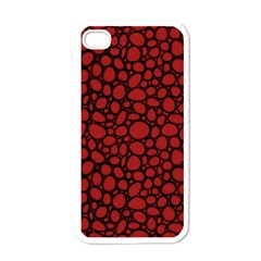 Tile Circles Large Red Stone Apple Iphone 4 Case (white)
