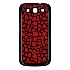 Tile Circles Large Red Stone Samsung Galaxy S3 Back Case (black)