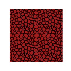 Tile Circles Large Red Stone Small Satin Scarf (square)
