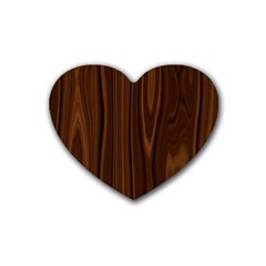 Texture Seamless Wood Brown Rubber Coaster (heart)
