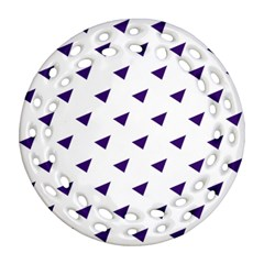 Triangle Purple Blue White Ornament (round Filigree) by Alisyart