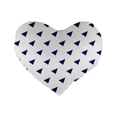 Triangle Purple Blue White Standard 16  Premium Flano Heart Shape Cushions