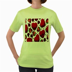 Strawberry Hearts Cocolate Love Valentine Pink Fruit Red Women s Green T Shirt