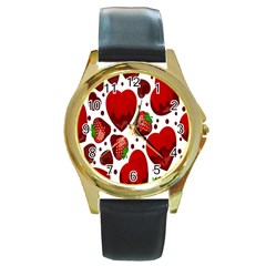 Strawberry Hearts Cocolate Love Valentine Pink Fruit Red Round Gold Metal Watch by Alisyart