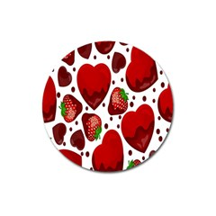 Strawberry Hearts Cocolate Love Valentine Pink Fruit Red Magnet 3  (round)