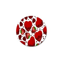 Strawberry Hearts Cocolate Love Valentine Pink Fruit Red Golf Ball Marker (4 Pack)