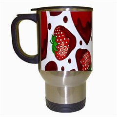 Strawberry Hearts Cocolate Love Valentine Pink Fruit Red Travel Mugs (white) by Alisyart