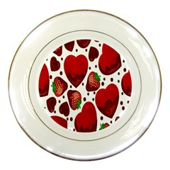 Strawberry Hearts Cocolate Love Valentine Pink Fruit Red Porcelain Plates