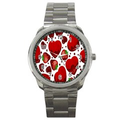 Strawberry Hearts Cocolate Love Valentine Pink Fruit Red Sport Metal Watch by Alisyart