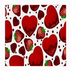 Strawberry Hearts Cocolate Love Valentine Pink Fruit Red Medium Glasses Cloth (2 Side)