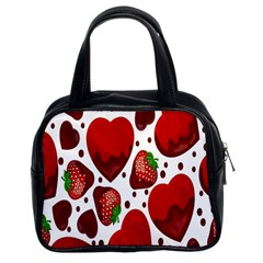 Strawberry Hearts Cocolate Love Valentine Pink Fruit Red Classic Handbags (2 Sides) by Alisyart