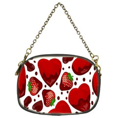 Strawberry Hearts Cocolate Love Valentine Pink Fruit Red Chain Purses (two Sides)  by Alisyart